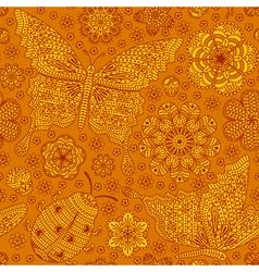 Seamless pattern with flowers ladybug and butter vector image