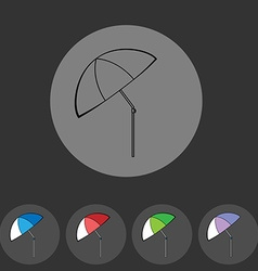 Colorful flat umbrella icon set vector