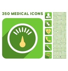 Meter icon and medical longshadow icon set vector