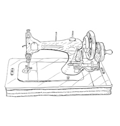 Vintage style sewing machine on white background vector