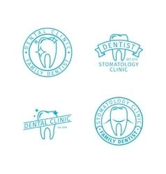 Dental clinic line logo templates vector