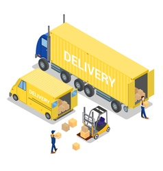 Isometric warehouse cargo industry worker vector