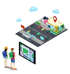 Isometric mobile navigation in the city vector