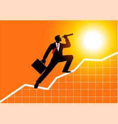 Businessman using telescope on graphic chart vector