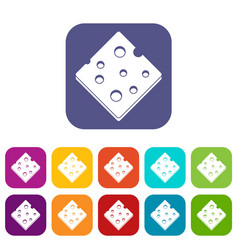Cheese fresh block icons set flat vector