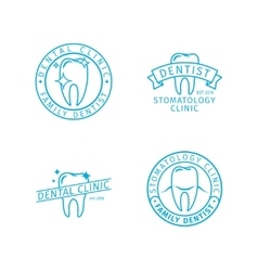 Dental clinic line logo templates vector image