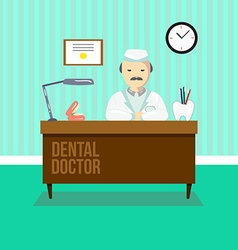 Dentist in dental clinic vector