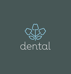 Dentist logo design tooth linear logotype vector