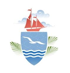 Design on the sea vector image