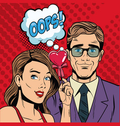 Fashion couple with speak bubble pop art cartoon vector