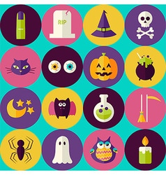 Flat Magic Halloween Witch Seamless Pattern with vector image vector image