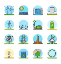 Green energy color line icons vector