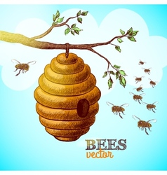 Honey bees and hive on tree branch background vector