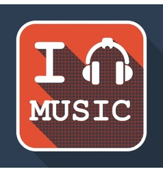 I love music flat retro vintage icon vector