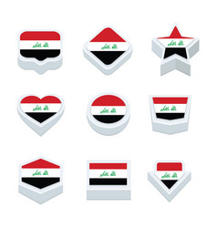Iraq flags icons and button set nine styles vector