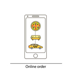 Line drawn icon and concept of mobile app for vector