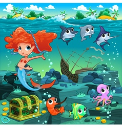Mermaid with funny animals on the sea floor vector image