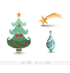 Merry christmas sketch style bauble tree elements vector