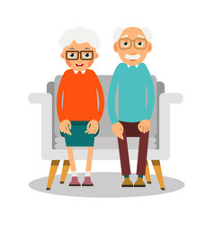 old people sitting on the sofa sit elderly woman vector image