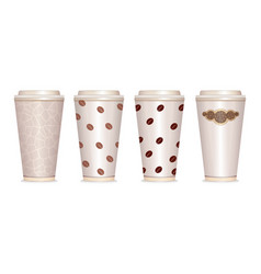 paper coffee cup set eps10 vector image vector image
