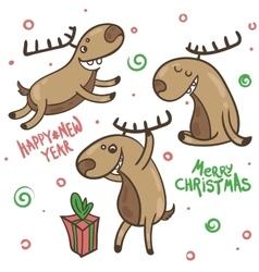 Print deer happy vector