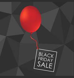 red balloon on black polygonal background with vector image vector image