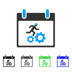 Running worker calendar day flat icon vector