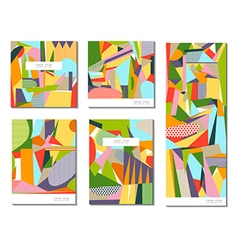 Set of of abstract geometric cards vector