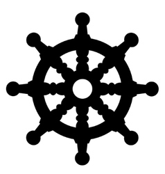 Ship steering wheel silhouette vector