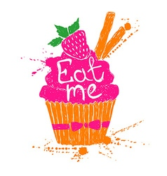 Silhouette of colorful cupcake vector