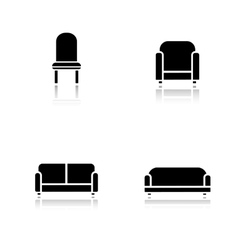 Soft furniture drop shadow icons set vector