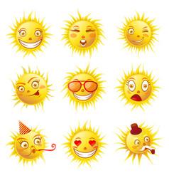 Sun smiles cartoon emoticons and summer emoji vector