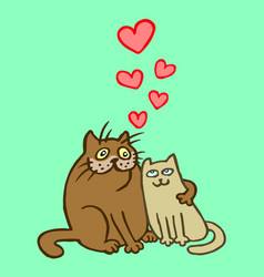 Sweet enamored cats vector