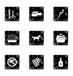 Veterinarian icons set grunge style vector