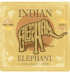 Vintage label with elephant and grunge effect vector image