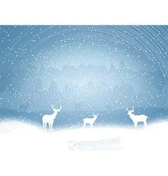 Winter landscape with deer vector image vector image