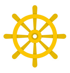 Wooden ship wheel icon isolated vector