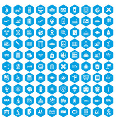 100 globe icons set blue vector