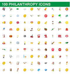 100 philanthropy icons set cartoon style vector image