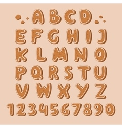 Cookie biscuit alphabet font vector