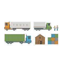 trucks delivery vehicle warehouse distribution vector image