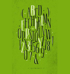 Alphabet gothic font green vector