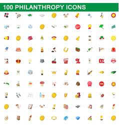 100 philanthropy icons set cartoon style vector