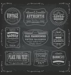Vintage labels ans signs on blackboard vector