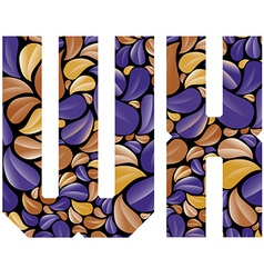 Beautiful floral alphabet letters W and X vector image