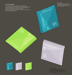 With three paper folded paper sheets on dark vector
