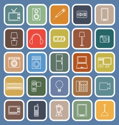 Electrical machine line flat icons on blue vector