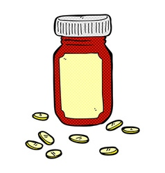 Comic cartoon jar of pills vector