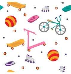 Children Sports Equipment Seamless Pattern vector image