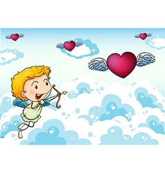 A sky with an angel and hearts with wings vector image